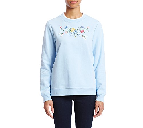 Breckenridge Petites' Floral Hummingbird Embroidery Crewneck Sweatshirt Petite X-Large