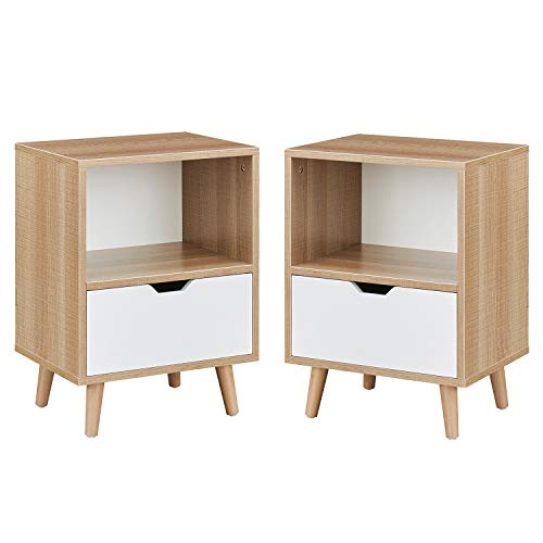 Nightstand Set of 2, 2-Tier End Table with Drawer and Shelf Storage, Side Table Accent Table for Bedroom, Living Room, Natural