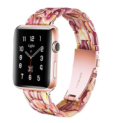 Cinturini per Orologio, Cinturino in Acciaio,Fibbia in Acciaio Inossidabile, Compatible con Apple Orologio Serie 5/4/3/2/1 donna uomo (Face Red, 42MM/44MM)