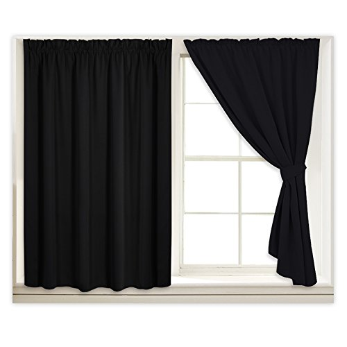 RYB HOME Black Curtain Blinds for Bedroom, Insulated Drapes for Living Room Small Window Covering, Hang Without Rod for Loft/Apartment, with 2 Ropes & Sticky Strap, Wide 40 x Long 63 inch, 2 Panels