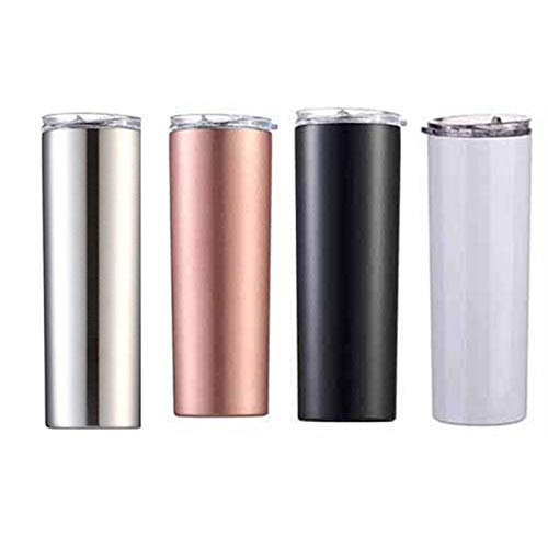 HWNGDI 4piece/set 20oz Stainless Steel Skinny Tumblers With Straw Beer Thermos Vacuum Flask Insulated Cup Wine Mug Water Bottle for Car stainless steel (Capacity : 20oz, Color : 4piece mix)