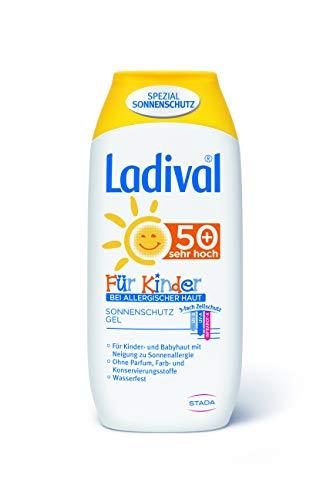 LADIVAL Kinder bei Allergischer Haut Sonnenschutz Gel LSF 50+ - geeignet bei Sonnenallergie - Parfümfrei, ohne Farb- und Konservierungsstoffe - wasserfest, 200 ml
