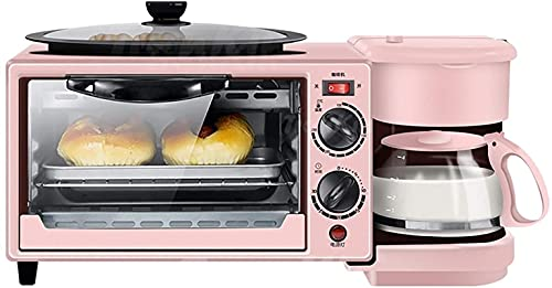 Mini horno - Parrilla eléctrica portátil pequeña de 9L 3-en 1 estación de desayuno Multifunción Hub de desayuno Hub Máquina, horno eléctrico, cafetera, una máquina adecuada para el hogar