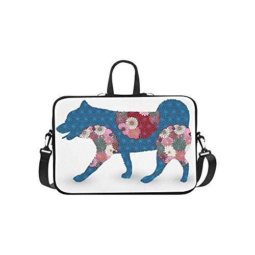 15.6″Durable Hombro Mensajero Bolsa maletín PC Icono de crisantemo de Tarjeta de año Nuevo de Perro Moda Impermeable Ordenador Portátil/portátil/Tablets