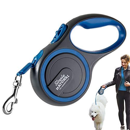 Simply Natural Correa para Perros Correa retráctil Extensible de 3 Metros para Perros de hasta 15 kg con Bloqueo y liberación táctil para Perros más Fuertes