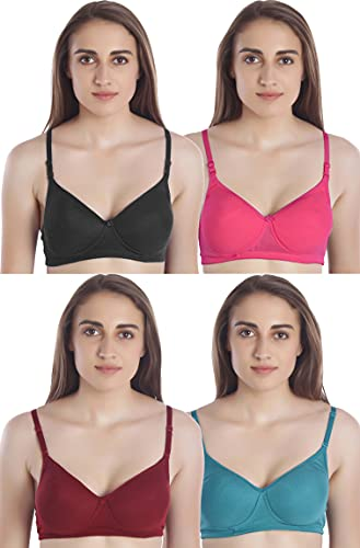MiEstilo Seamless Molded Cup Padded Bra for Women's Combo (Multicolor, Pack of 4)