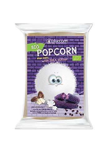BLUECORN Bio-Popcorn aus Blauem Mais 10er x 100g | Für die Mikrowelle, mit Sheabutter und Salz | High Carb, ohne Zucker, ohne Palmöl, Glutenfrei, Vegan| Ohne künstliche Zusatzstoffe
