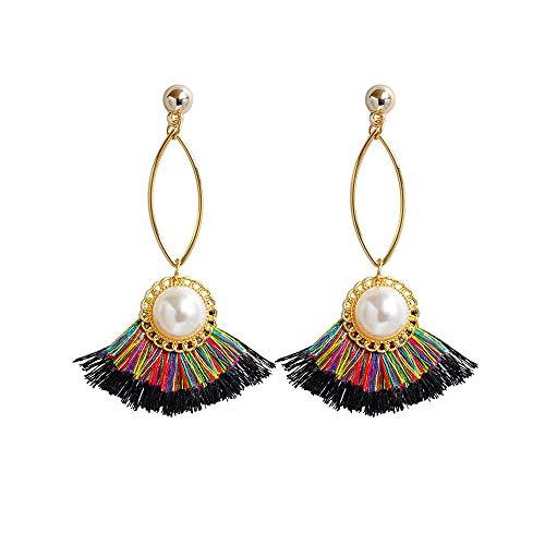 ZRDMN-Ohrstecker Dangler-Ohrschmuck für Frauen Europäische und US-amerikanische Mode Das Pearl Fan-Su-Ohr fällt in den Farbstrahl der Schmuckohrringe