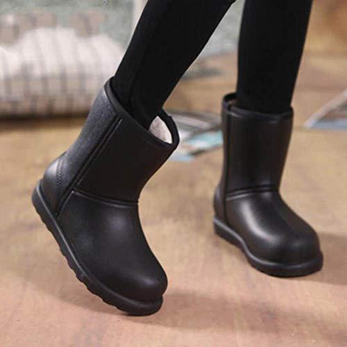 YUXUEKING Regen Laarzen, Vrouw Sneeuw Laarzen Winter Vrouwen Zwart Katoen Enkellaars Waterdicht Plus Size Plat Regen Laarzen Houd Warm Dames Schoenen
