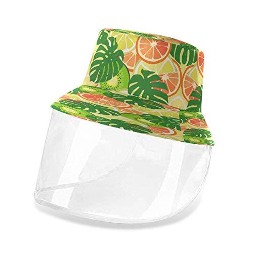Alarge Schutzhut für Fischer, tropische Zitrone, Orange, Kiwi-Palme, Anti-Staub, Sonne, UV-Schutz, Fischerhut, Kappe mit abnehmbarer Gesichtsmaske, für Männer und Frauen, Outdoor Gr. 56, multi