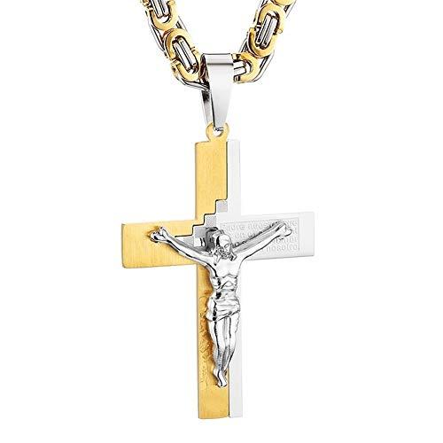 LDGR Colgante, Collar de múltiples Capas Cruz Jesucristo Acero Inoxidable Enlace Cadena Pesada de los Hombres joyería Regalo Retro Delicado (Color : P Gold Silver, Size : 55cm)