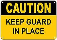 注意警備員を所定の位置に置いてください金属錫看板アウトドアリビングストリートヤード看板ホームキッチン吊り下げアートワークプラークウォールアート装飾レトロヴィンテージ看板ベストギフト8インチX12インチ メタルプレートブリキ 看板 2枚セットアンティークレトロ