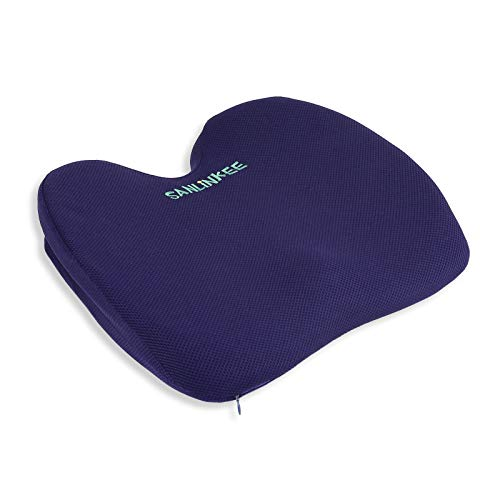 Seat Cushion for Office Chair, Sanlinkee Ergonomic Designed Memory Foam Coccyx Pad for Back, Butt and Tailbone Pain, Seat Pillow for Car, Wheelchair, Computer and Desk Chair