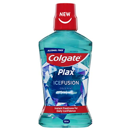 Colgate Plax Ice Fusion Antibacterial Alcohol Free Bad Breath Control Mouthwash Cold Mint 500mL