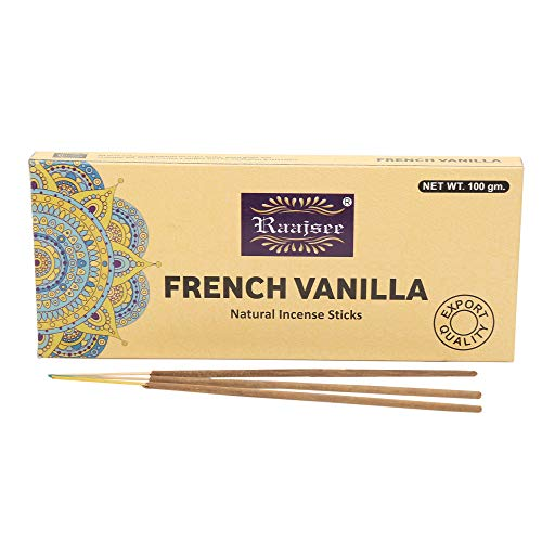 raajsee French Vanilla Natural Incense Sticks 100 Gm Pack-100% Pure Organic Natural Hand Rolled Free from Chemicals-Perfect for Church,Aroma Therapy,Relaxation,Meditation,Positivity,Healing 100gm Pack