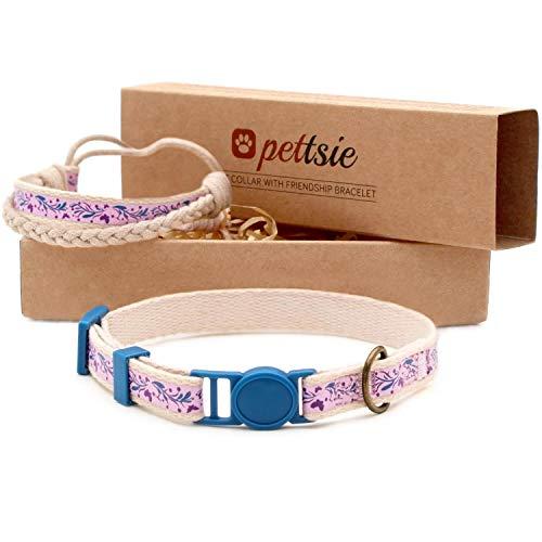 Pettsie Kitten Kitty collare di sicurezza e amicizia braccialetto per te, durevole 100% cotone per una maggiore sicurezza, anello a D per accessori, confezione regalo inclusa (12,7-20,3 cm)
