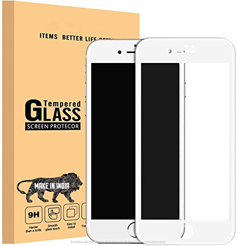 divine edge to edge full screen coverage tempered glass screen protector for apple iphone 7 / iphone 8 / se 2020 with installation kit (white color)