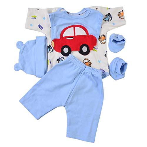 Fenteer Weiche Babypuppe Kleidung Set mit verschiedenen Muster für Junge oder Mädchen Puppe - Auto, 22-23 Zoll