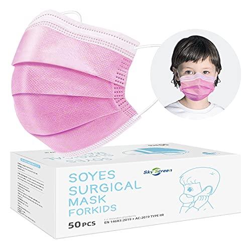 SOYES Kinder Mundschutz TYP IIR 3 Lagig Einwegmasken Kinder - 50 Stück CE Zertifizierte Einweg-Gesichtsmaske - Mund Nasen Schutzmaske Kindermasken Junge Mädchen, Rosa