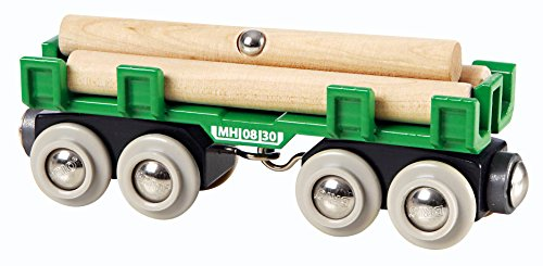 BRIO World - 33696 Lumber Loading Wagon | 4 Piece Train Toy for Kids Ages 3 and Up - Red