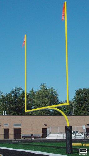 Gared 5 9/16' O.D. 23 4' Crossbar Yellow High School Football Goal Posts (Plate Mount) - 1 Pair
