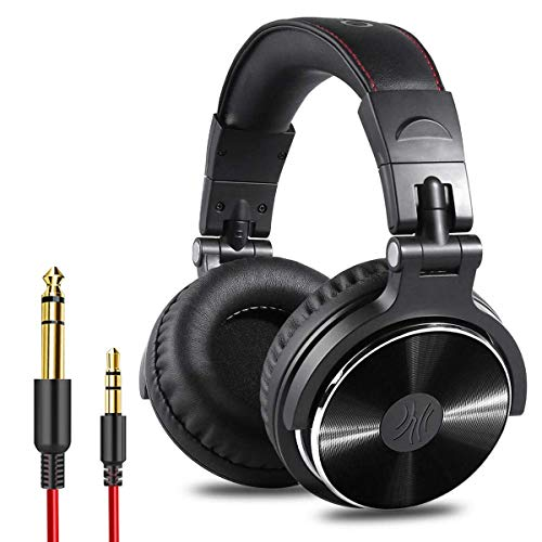 OneOdio Wired Over Ear Headphones DJ Stereo Headsets with 50mm Neodymium Drivers Studio Monitor & Mixing for AMP Computer Recording Piano Guitar Laptop Phone, 3.5mm to 1/4 Audio Jack - Black