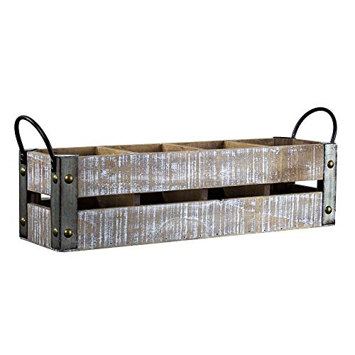 American Art Decor Rustic 4 Bottle Tabletop Wine Rack with Handles Farmhouse Decor Wine Storage