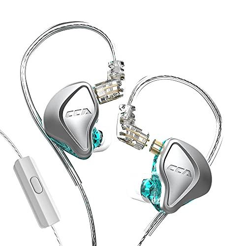 CCA NRA - Auricolari elettrostatici in ear 1DD 1Estat con cavo HiFi Sport Gaming Cuffie Compatibilità per telefono e tablet, con set regalo, colore: Ciano con microfono