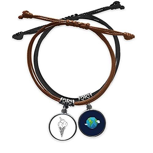 Bestchong Zwart overzicht sesam koekjes ijs armband touw hand ketting lederen aarde polsband