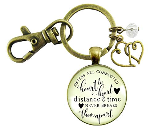 Sisters Are Connected Keychain Long Distance Women's Friendship Gift Rustic Bronze Jewelry Heart