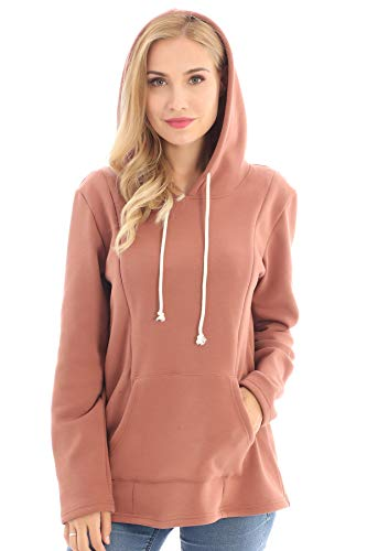 Bearsland Women's Maternity Sweater Clothes Nursing Sweatshirt Breastfeeding Hoodie with Pockets,Camel,L
