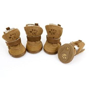 Lot de 2paires de bottes avec fermeture Velcro pour chien Marron TailleS