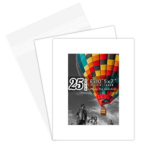 Golden State Art, Acid-Free Pre-Cut 8x10 White Picture Mat Sets. Includes Pack of 25 White Core Bevel Cut Mats for 5x7 Photos, 25 Backing Boards and 25 Crystal Clear Plastic Bags