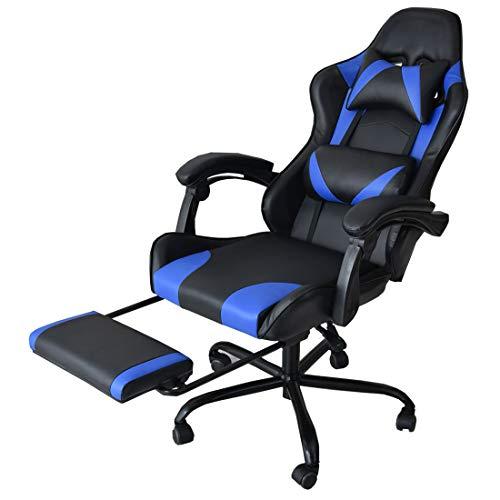 CYBER-GROUND ゲーミングチェア オフィスチェア デスクチェア フットレスト 170度 リクライニング バケットシート クッション ソフトレザー タンスのゲン 椅子 チェア ブルー 31510016 02 (63950)