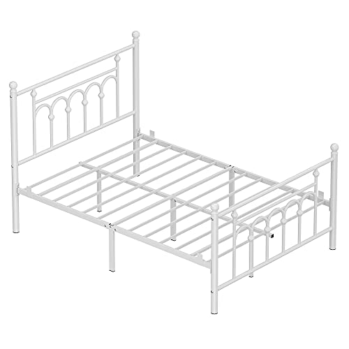 VASAGLE Full Size Metal Bed Frame with Headboard, Footboard, No Box Spring Needed, Platform Bed, Under-Bed Storage, Victorian Vintage Style, White