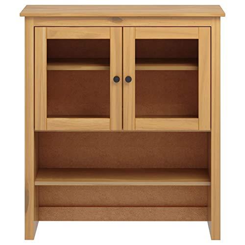 Tidyard Buffetschrank Vitrine Sideboard-Aufsatz Küchenschrank Wohnzimmerschrank, Kiefer-Massivholz 90 x 33 x 100 cm Honigbraun