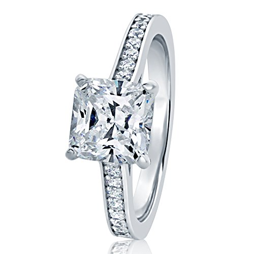 925 Sterling Silver Ring Square Princess 1.75 carat CZ Stone Solitaire Wedding Engagement Ring 7.5MM (Size 5 to 10), 9