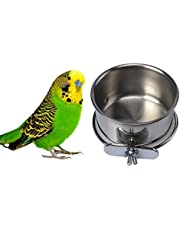 Soporte de abrazadera para pájaros y comida de mascota, de acero inoxidable, para colgar cuencos para loro, Macaw africano y gris, periquitos, cacatúas, cono, pájaros y pigeón