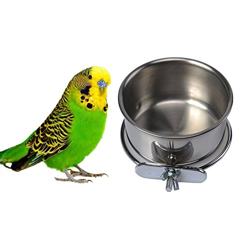 Pet Bird Food Feeding and Drinking Hanging Cup Clamp Holder Stainless Steel Hanging Bowl for Parrot Macaw African Greys Budgies Parakeet Cockatiels Conure Lovebirds Finch Pigeon Cage