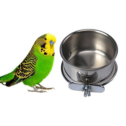 Hypeety Futter-/Trinkbecher zum Aufhängen für Haustiere, aus Edelstahl, für Papageien, Aras, Graupapageien, Wellensittiche, Nymphensittiche, Finken, Taubenkäfig