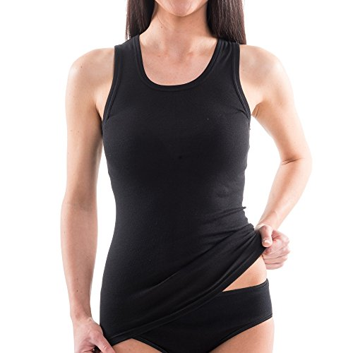 HERMKO 1325 Damen Longshirt in Trend-Farben aus 100{ba82c2b080dbc0da7f0490b75f71b59e0a23dbcba9f4c56f7dd2b2206905afa0} Bio-Baumwolle, Tank Top auch in Übergrößen, längeres Shirt für drüber und drunter, Farbe:schwarz, Größe:40/42 (M)