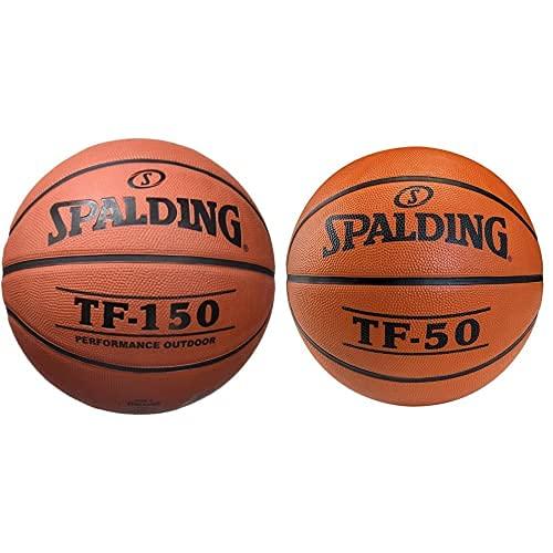 Spalding Tf150- Ballon De Baloncesto, Color Naranja, Talla 7 + Tf50 Outdoor Sz.7 (73-850Z) Balón De Baloncesto, Unisex Adulto, Naranja, 7