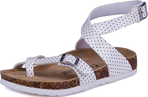 SATUKI Women's Sandals Footbed Casual Adjustable Straps Platform Shoes (7.5, B)