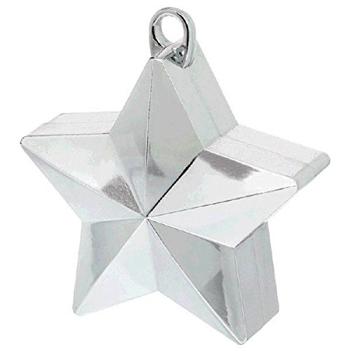 amscan 117800-18 Shinny Silver Star Balloon Weights Party Decoration-1 Pc