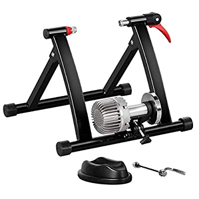 YAHEETECH Fluid Bike Trainer Stand Indoor Bicycle Exercise Stand Mountain & Road Bike Portable Foldable Cycling Training Stand w/Fluid Flywheel,Quick-Release,Riser Block & Noise Reduction for 26-29in