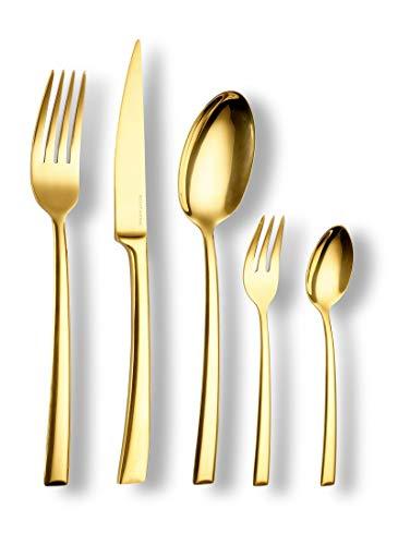 Echtwerk EW-BS-3030G Tafelbesteck Avelino/Shiny-Gold Edition, 30-teilig, für 6 Personen, Edelstahl 18/10-hochglänzend, Hochwertiges Besteck Set, inkl. Aufbewahrungs-Kassette, 18/10 Stahl