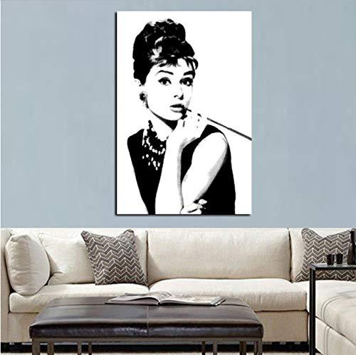 RUIYAN Leinwandbild Hd Print Schwarz Mit Weiß Audrey Hepburn Porträt Auf Leinwand Wandkunst Bild Pop Art Gemälde Für Wohnzimmer Cuadro Dekoration 30X40 cm Zz3T Rahmenlose