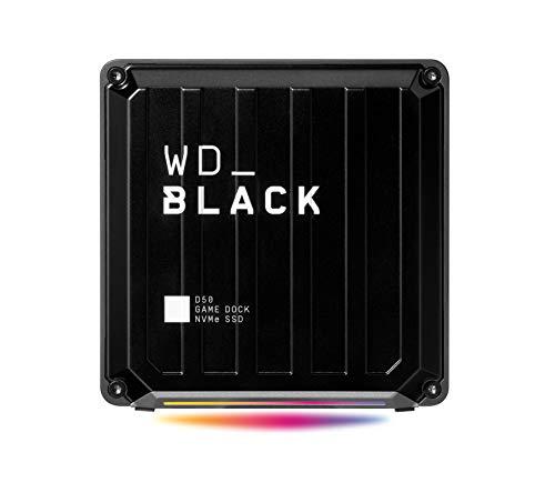 WD_BLACK D50 NVMe SSD Game Dock 2 TB. 2 puertos Thunderbolt 3, DisplayPort 1.4,USB-C,USB-A,entrada y salida de audio,Gigabit Ethernet iluminación RGB ,3000 MB/s lectura y 2500 MB/s escritura
