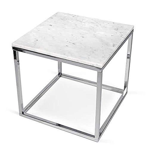 PRAIRIE, table basse ou table d'appoint, en placage de bois ou marbre, de jolies réalisations, bien dans l'air du temps ! - designer : INÊS MARTINHO - table d'appoint carrée, 50 x 50 x 50 cm - Marbre blanc (blanc de Carrare, 2 cm), pieds chromés