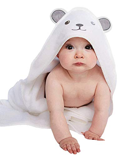 Bamboo Hooded Baby Towel - Softest Hooded Bath Towel with Bear Ears for Babie, Toddler,Infant - Ultra Absorbent and Hypoallergenic, Natural Baby Towel Perfect for Boy and Girl